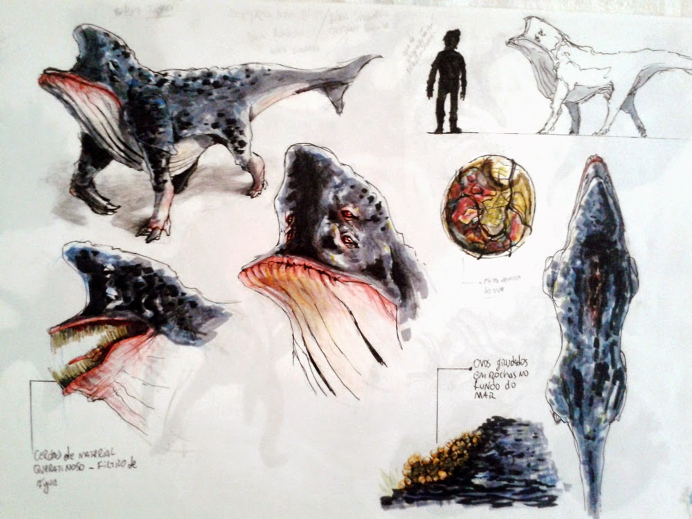 creature design, sketchbook, sea creature, alien creature, alien, baleia alienigena, baleia cachoro, dog whale, whale alien, douglas deri, deri, deriart