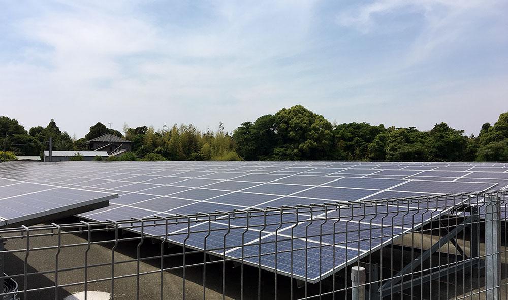 静岡県浜松市伊左地町の太陽光発電所に整然と並ぶ太陽光発電パネル(2017年5月21日撮影)