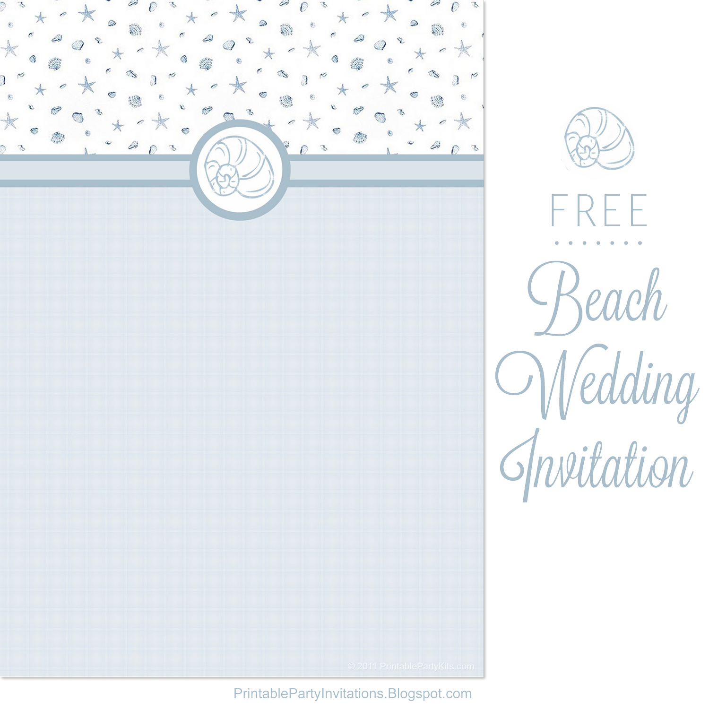 Free Printable Party Invitations Blue Seas Beach Wedding