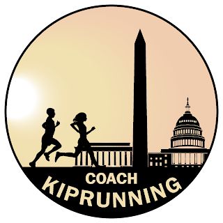 a male and female runner in silhouette running in front of Washington DC monuments