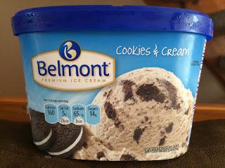 A carton of Belmont Cookies & Cream Ice Cream, from Aldi