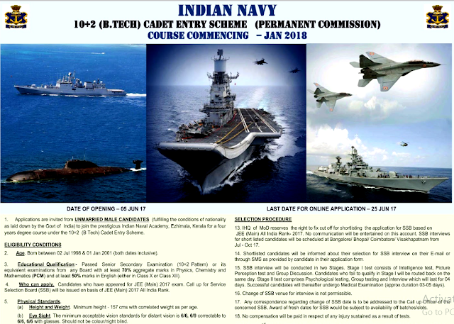 Indian Navy 10+2 Btech Entry Jan 2018 Scheme Online Application Form