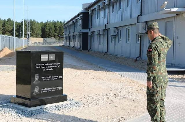 Memorial dedicated to Klodian Tanushi and Zarife Hasanaj fallen in Latvia during NATO training