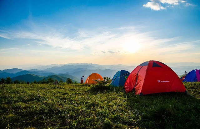 camping tents, gears and sleeping bags