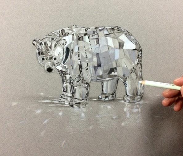 04-Polar-Bear-Leonardo-Pereznieto-Swarovski-Crystal-Drawings-www-designstack-co