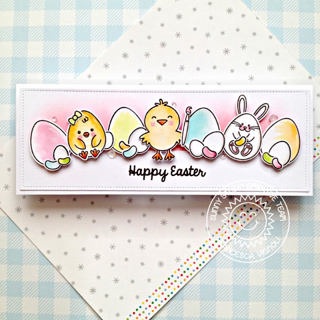 Sunny Studio Stamps: Eggs To Dye For Slimline Dies A Good Egg Easter Card by Franci Vignoli