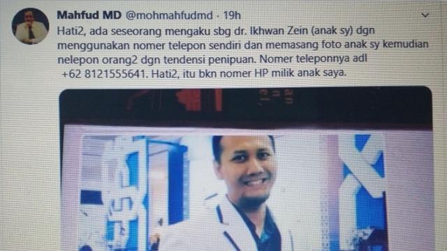 Mahfud MD Ngetwit soal Penipuan, Netizen: Lapor ke Polisi Pak, Bukan di Twitter