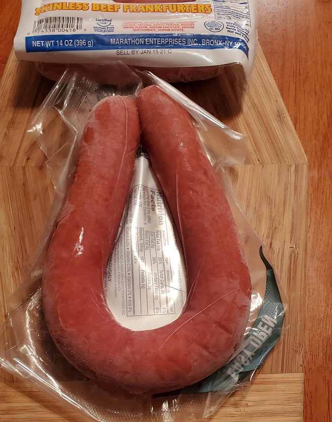this is kielbasa and hotdogs in the packages