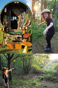 My two boys in the golden sunshine of sunset collage with a gypsy caravan in dappled light