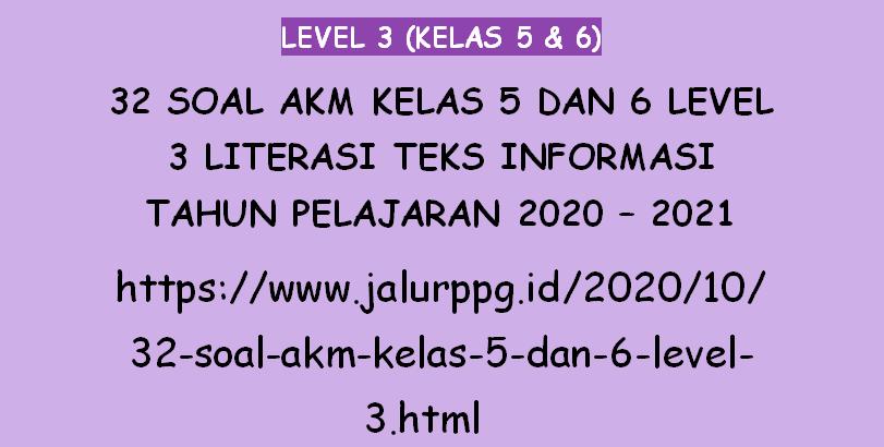 32 Soal Akm Kelas 5 Dan 6 Level 3 Literasi Teks Informasi Tahun Pelajaran 2020 2021
