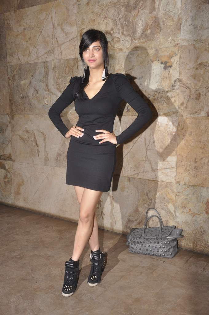 Shruti Haasan Thigh Show Hot Black Dress Photoshoot