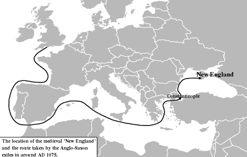 Image result for The location of the medieval 'New England' and the route taken by the Anglo-Saxon exiles in around AD 1075