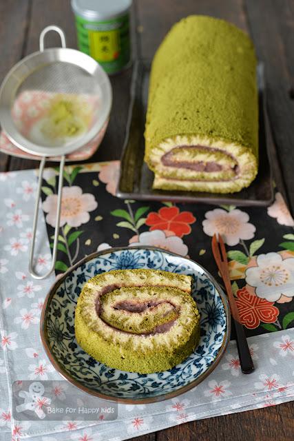 match green tea red bean hurricane chiffon Swiss roll