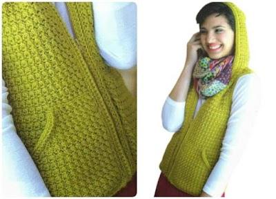 Chaleco con Capucha de Crochet Patron