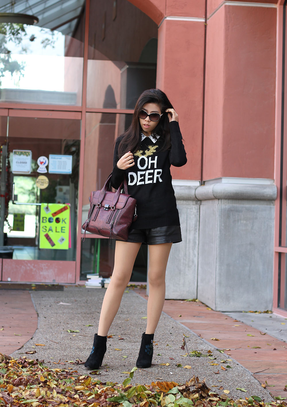 Fall Fashion_Adrienne Nguyen Black Sweater with White Collar Shirt