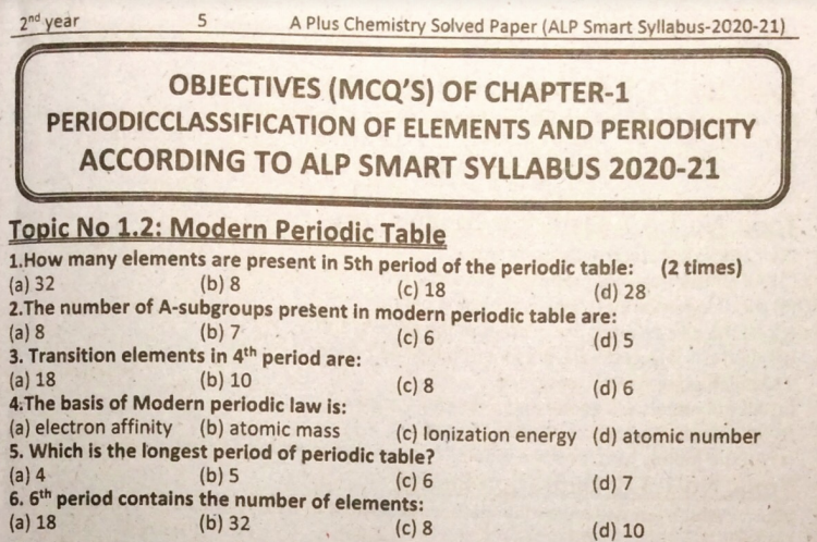 2nd Year Chemistry Solved Guess Paper & Past Papers 2021 for Smart Syllabus pdf Download