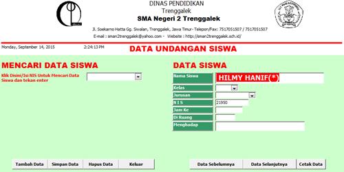 Tampilan data Undangan Siswa