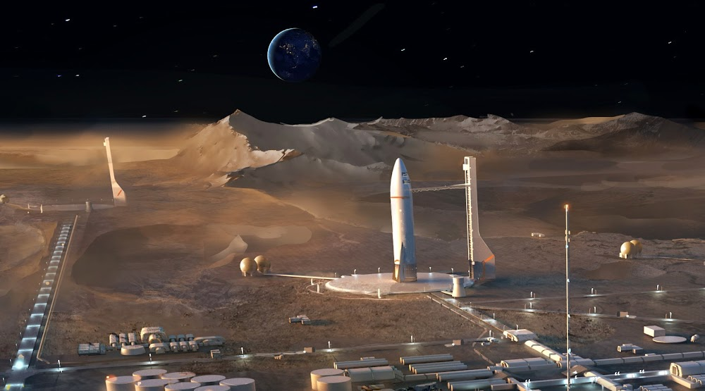 SpaceX's Starship landing pad at Lunar colony by Jort van Welbergen