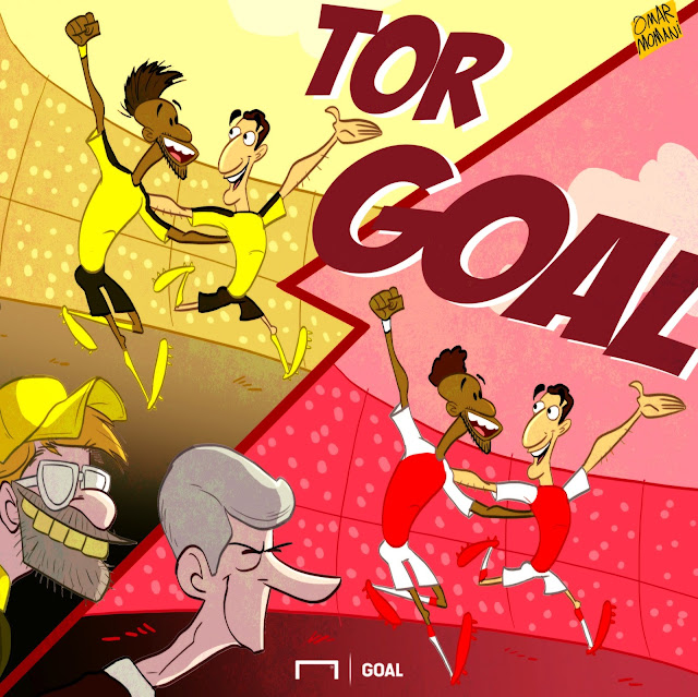Aubameyang and Mkhitaryan cartoon