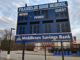 new scoreboard at FHS donated by Middlesex Savings Bank