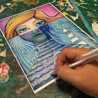 WIP Laurie Anne Smith Sikorowski Art Journal Page Mermaid