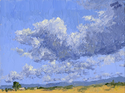 art painting skyscape clouds rural open land space
