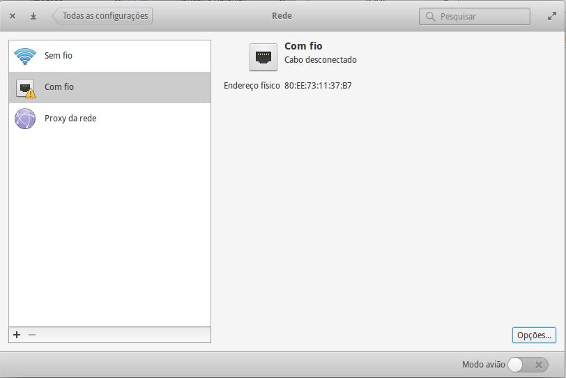 Configurações de Rede no Elementary OS (opção Com Fio selecionada para edição)