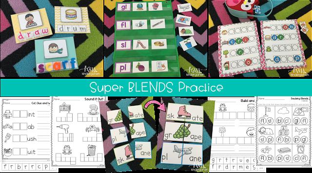 blends practice activities for Kindergarten