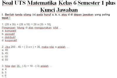 Soal Dan Kunci Jawaban Uts Pts Matematika Kelas 6 Semester 1