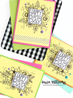 Make a simple floral birthday card set with stamps from Impression Obsession