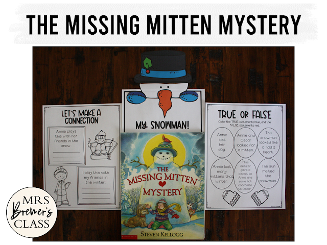 The Missing Mitten Mystery book study literacy unit with Common Core aligned companion activities and a craftivity for K-1