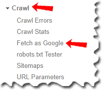 click on crawl and select fetch as google