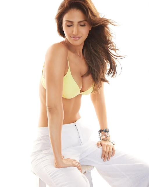 Vaani Kapoor Hot Cleavage Photos in Yellow Bra Navel Queens