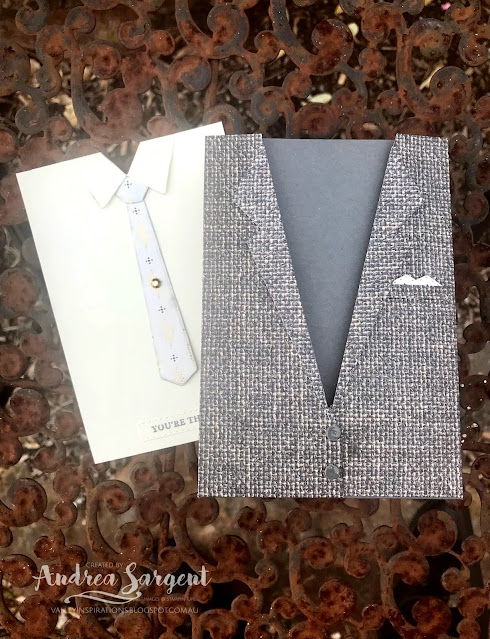 The Suit and Tie Gift bag with single card were created for that special fella in your life, by Andrea Sargent at Valley Inspirations. Copyright Stampin' Up!