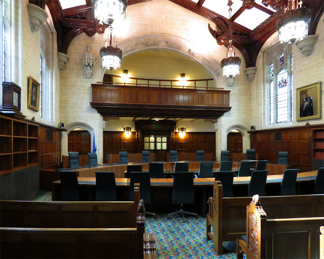 Court 1 in the Supreme Court building, Supreme Court of the United Kingdom, Middlesex Guildhall, Parliament Square, London