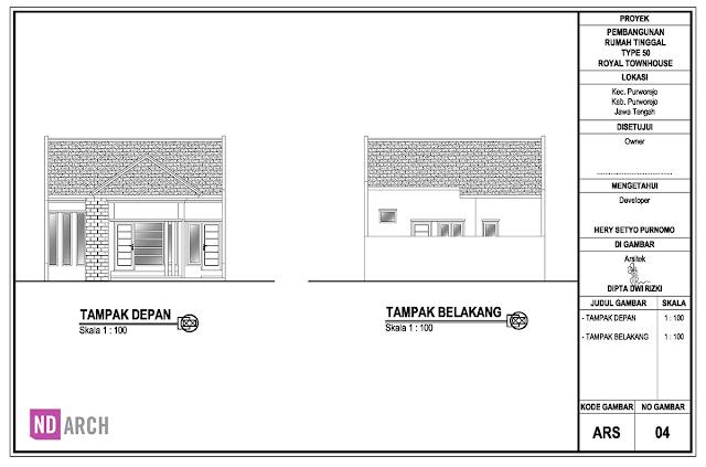 Gambar Bestek Rumah Type 50 - Royal TownHouse ND Arch