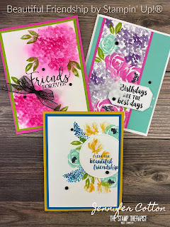 Three cards with Stampin' Up!'s Beautiful Friendship retiring stamp set!  You can get this set through May 3, 2021 or while supplies last.  In the video on the blog I make all three cards, and measurements are on the blog.  #StampinUp #StampTherapist #BeautifulFriendship