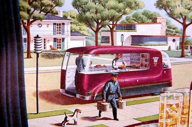 1947 retro-future dinner delivery, an illustration