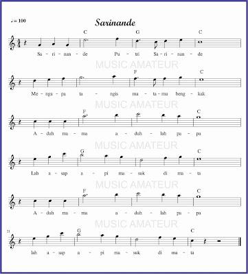gambar notasi sarinande akor sedikit