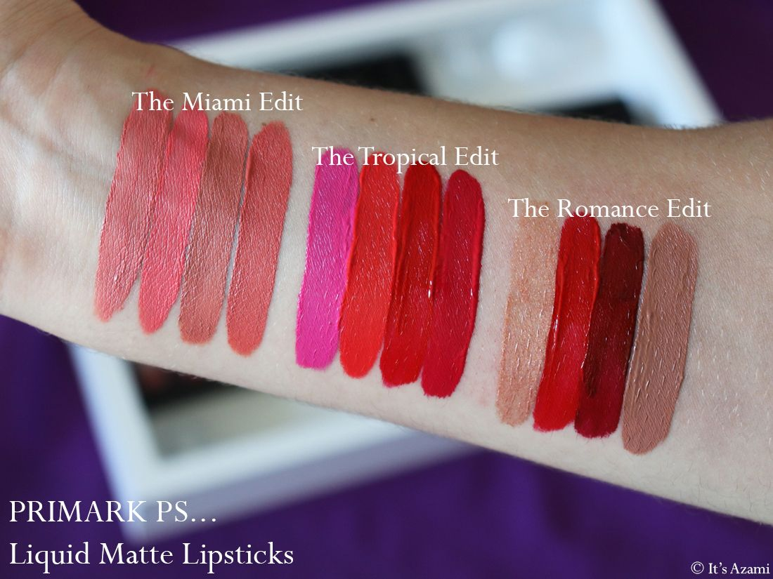 Primark PS... Liquid Matte Lipsticks - The Tropical Edit - The Mocha Edit - The Rose Edit - The Miami Edit - The Romance Edit - Review & Swatches Avis Makeup Maquillage - London Makeup Artist Beauty Blogger Youtube