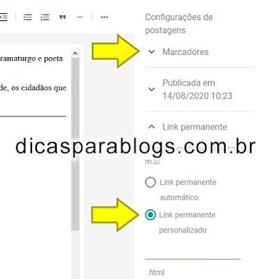 configurações de postagens novo painel