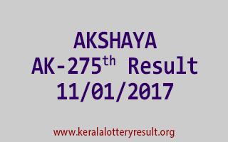 AKSHAYA AK 275 Lottery Results 11-01-2017