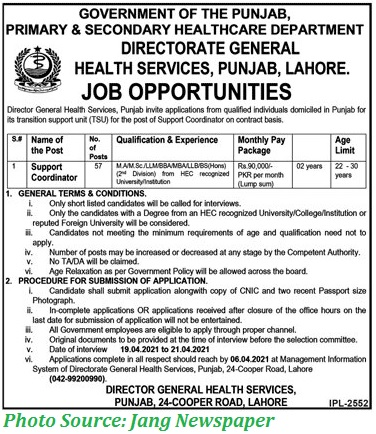 Primary and Secondary Health Care Department Govt of Punjab Jobs March 2021 Latest