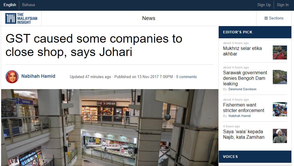 syarikat tutup kerana GST