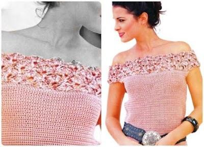 Top Escote Punto Abanico Crochet