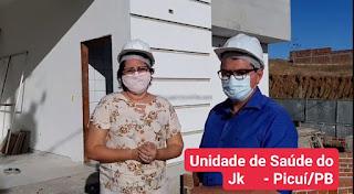 Em Picuí, vereadora Joselma de Aguifá e prefeito Olivânio visitam UBS do JK em fase de conclusão