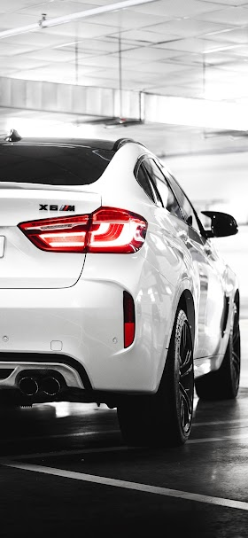 White bmw x6m car rear wallpaper