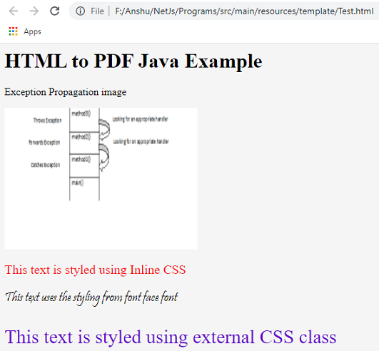 HTML to PDF Java Flying Saucer