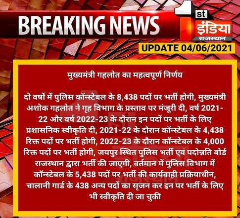 Rajasthan Police Constable Bharti 2021 Notification Apply Online Form for 8438 Vacancies