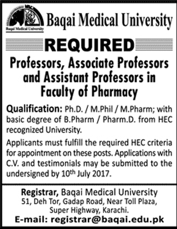 jobs in Baqai Medical University Malir Karachi 20 june 2017